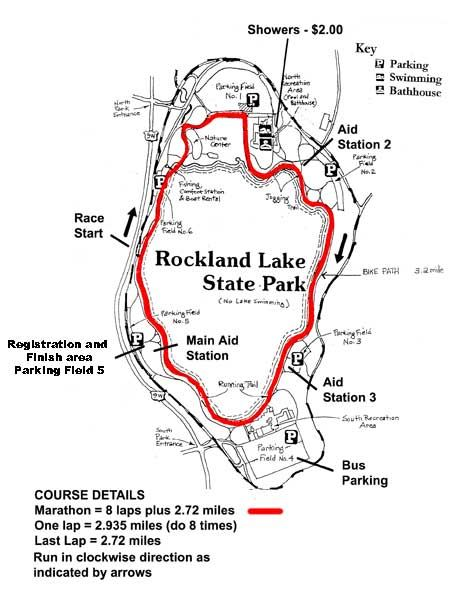 Sri Chinmoy Marathon AT ROCKLAND LAKE MAPA DEL RECORRIDO DE