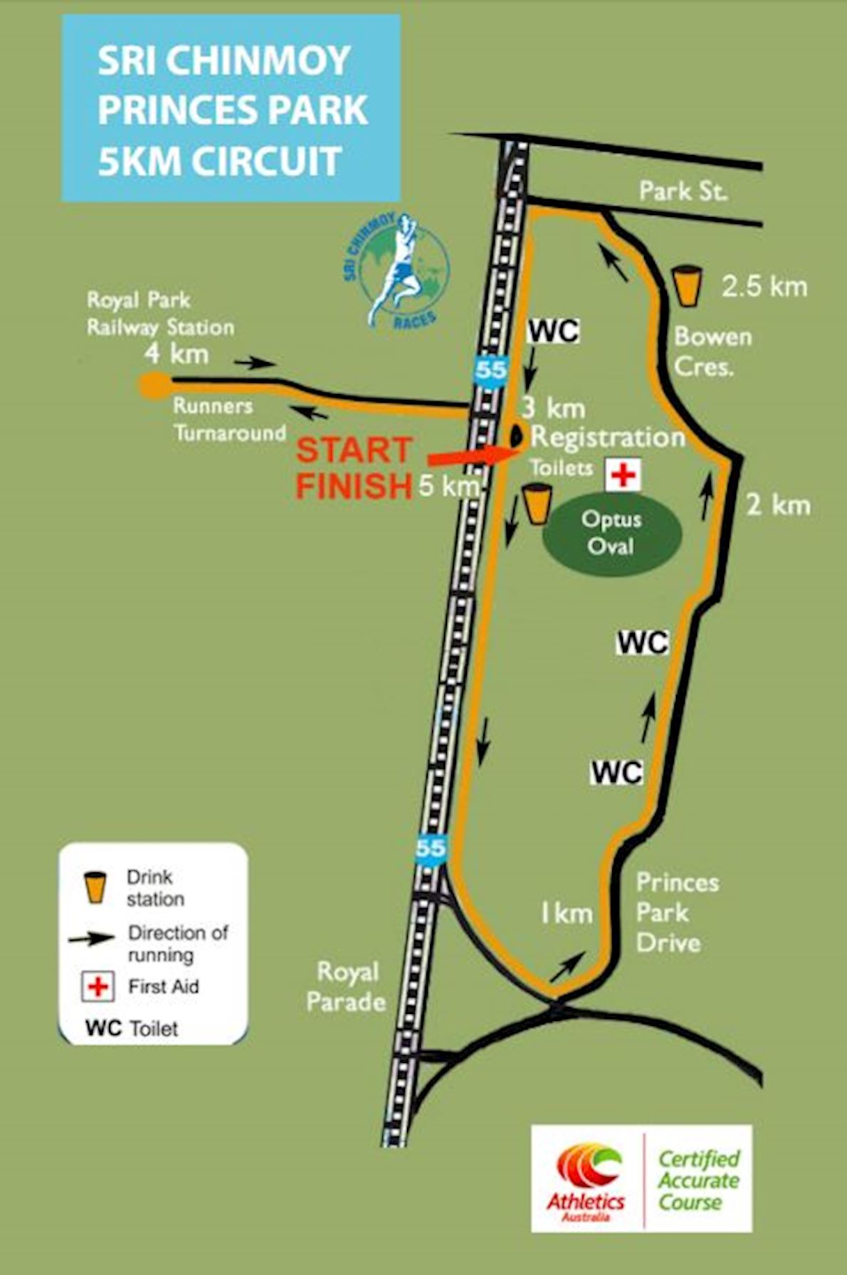 Sri Chinmoy Princes Park Winter Running Festival Route Map
