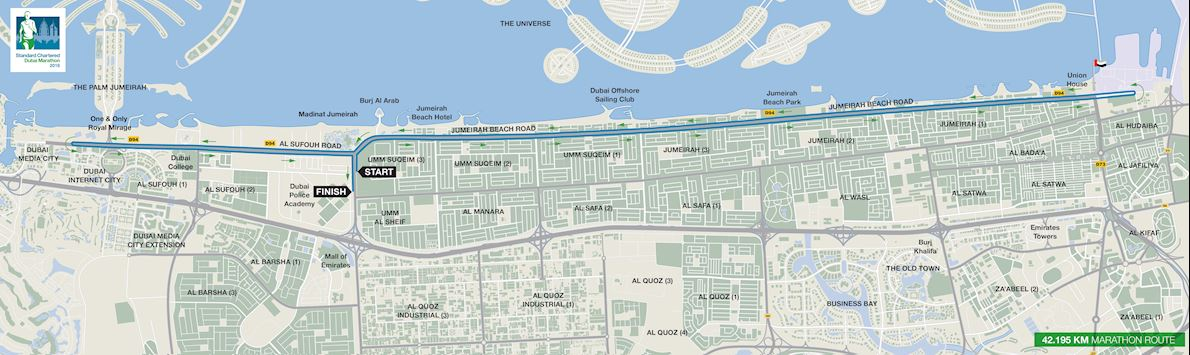 Standard Chartered Dubai Marathon Route Map