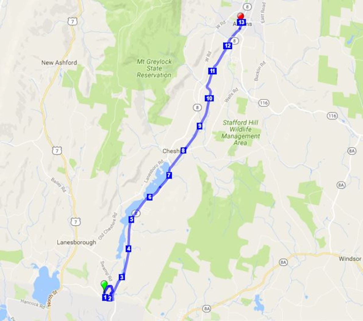 Steel Rail Half Marathon Routenkarte