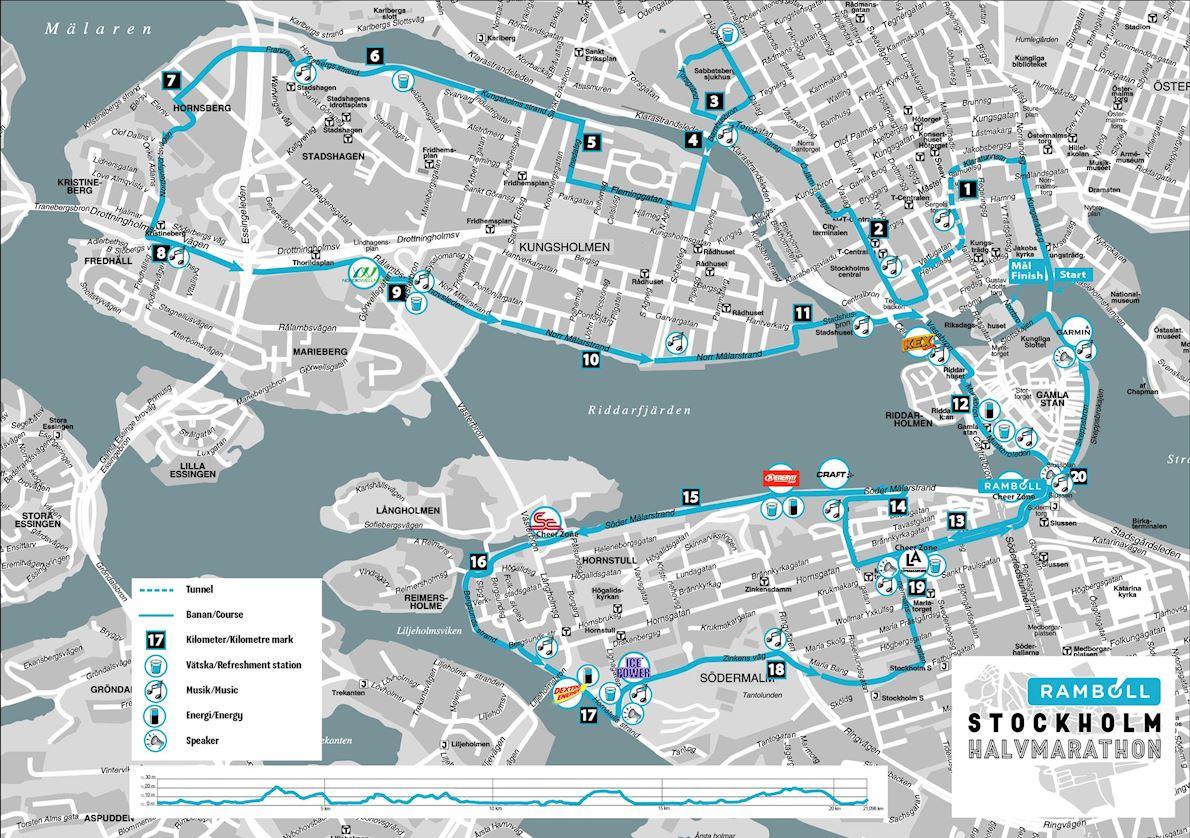Stockholm Half Marathon MAPA DEL RECORRIDO DE