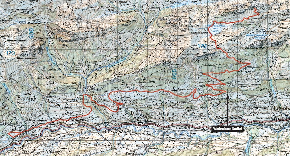 Stockhorn-Halbmarathon Routenkarte