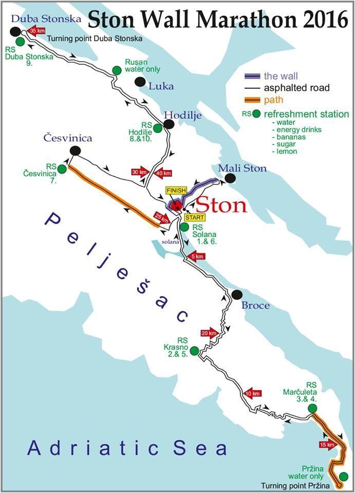 Ston Wall Marathon Routenkarte