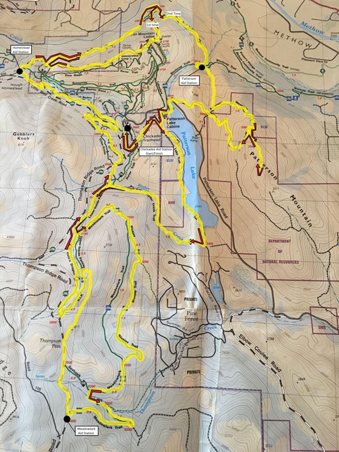 Sun Mountain 100K Mappa del percorso