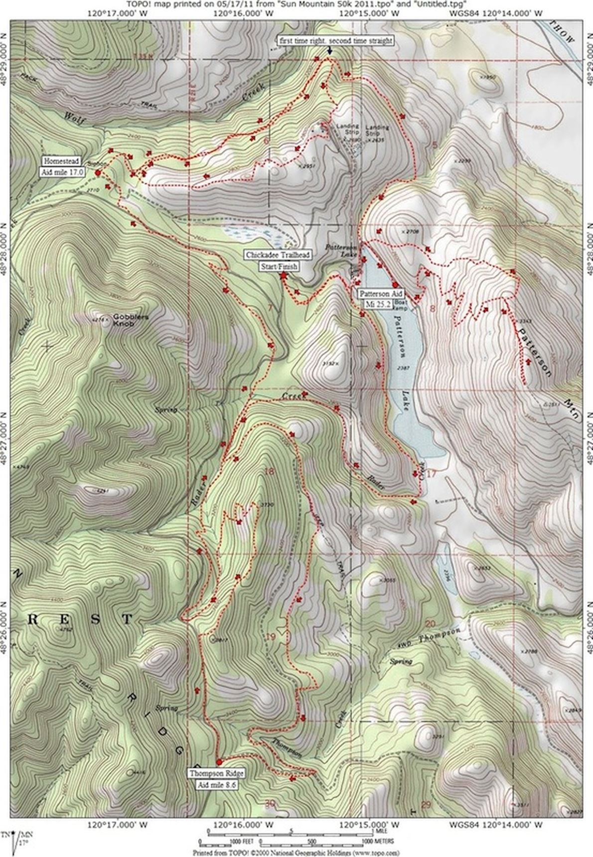 Sun Mountain 50K Route Map