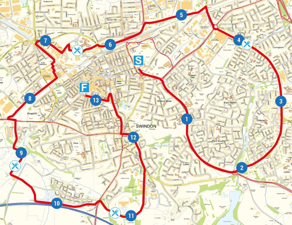 Swindon Half Marathon Routenkarte