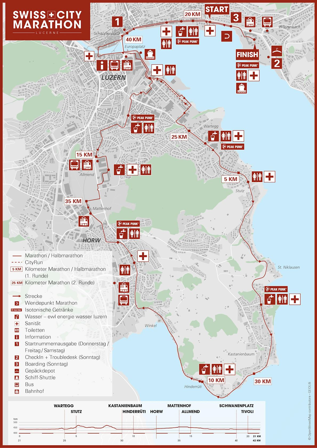 SwissCityMarathon – Lucerne Route Map