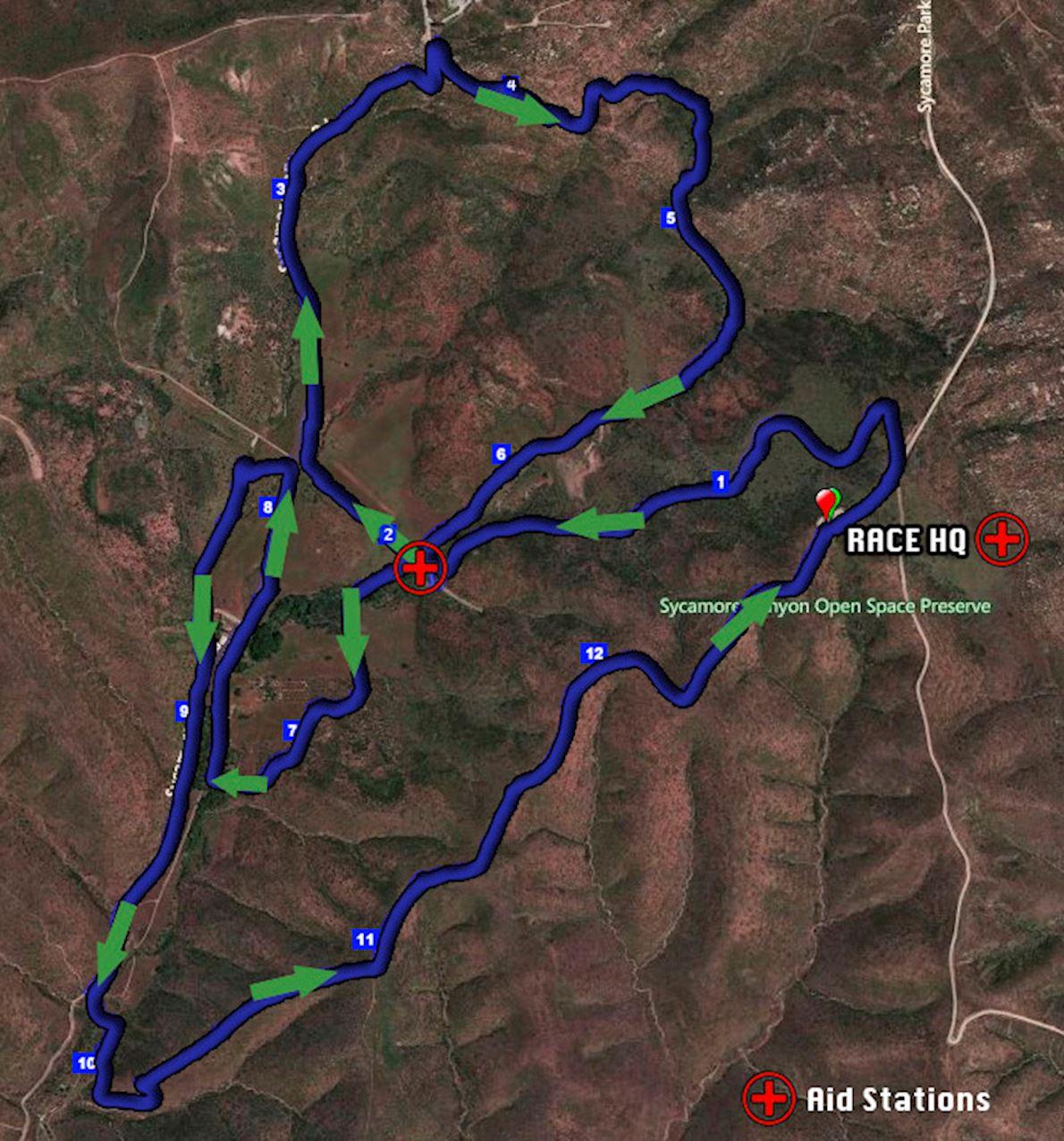 Sycamore Canyon 100k / 50K / Half Routenkarte