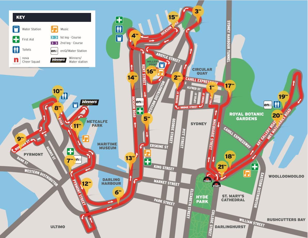 Sydney Morning Herald Half Marathon 路线图