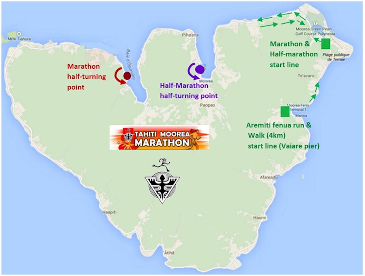 Tahiti Moorea Marathon MAPA DEL RECORRIDO DE