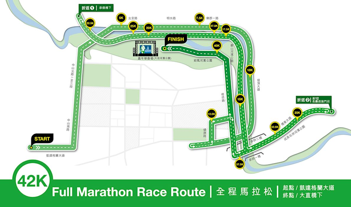 Taipei Standard Chartered Charity Marathon Route Map