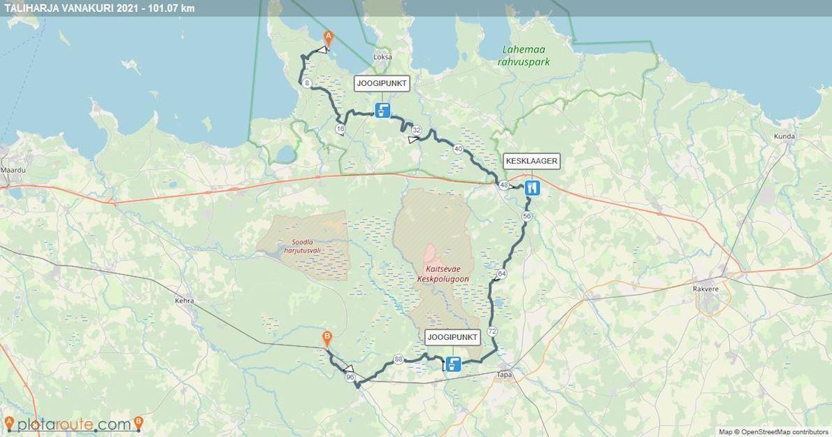 Taliharja Vanakuri - winter ultra endurance race Route Map
