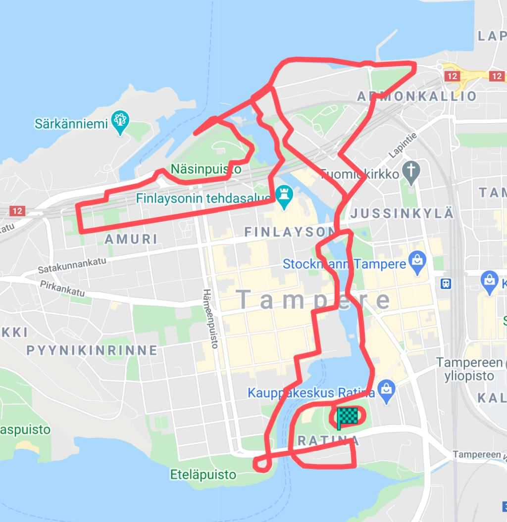 Tampere Marathon Route Map