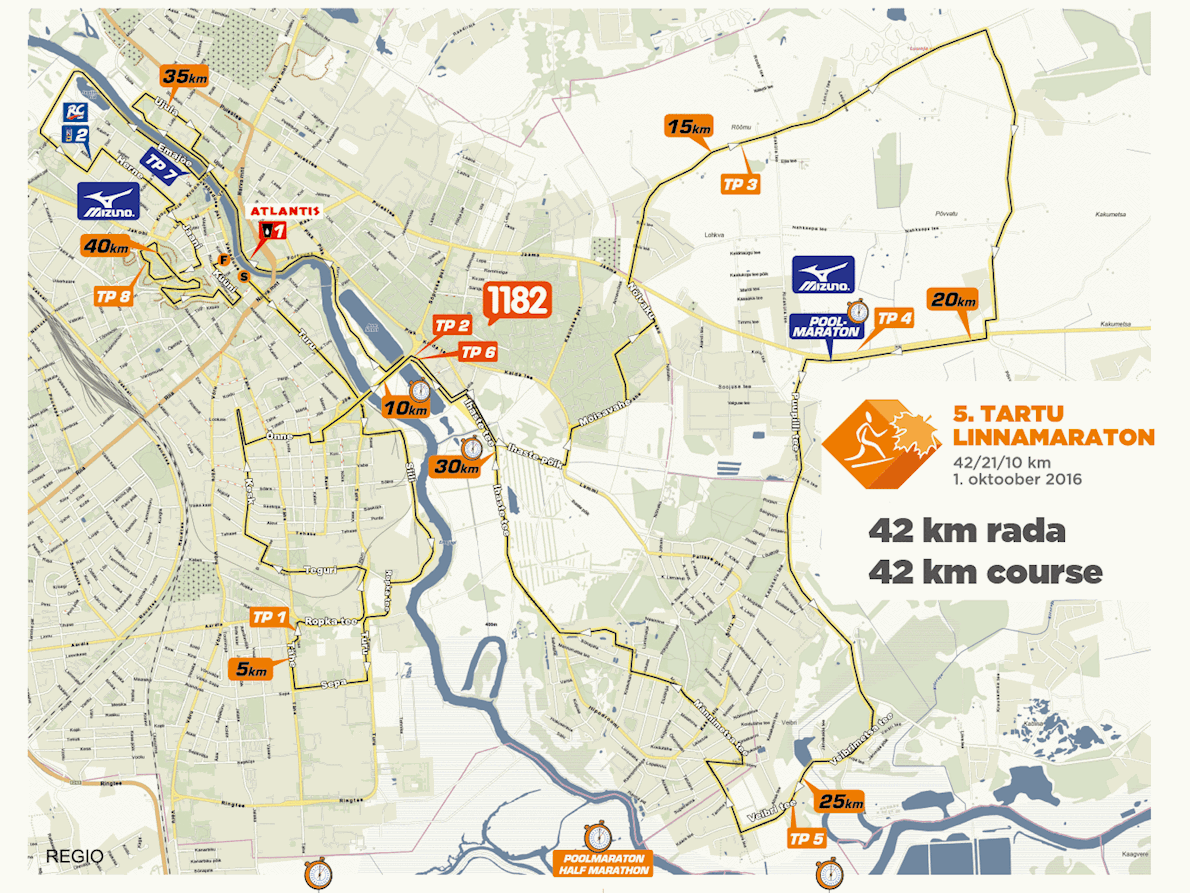 Tartu City Marathon Route Map