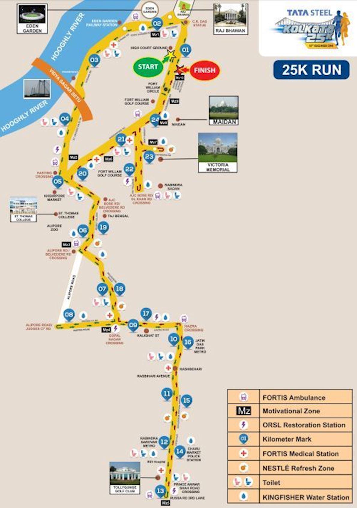 Tata Steel Kolkata 25k Routenkarte