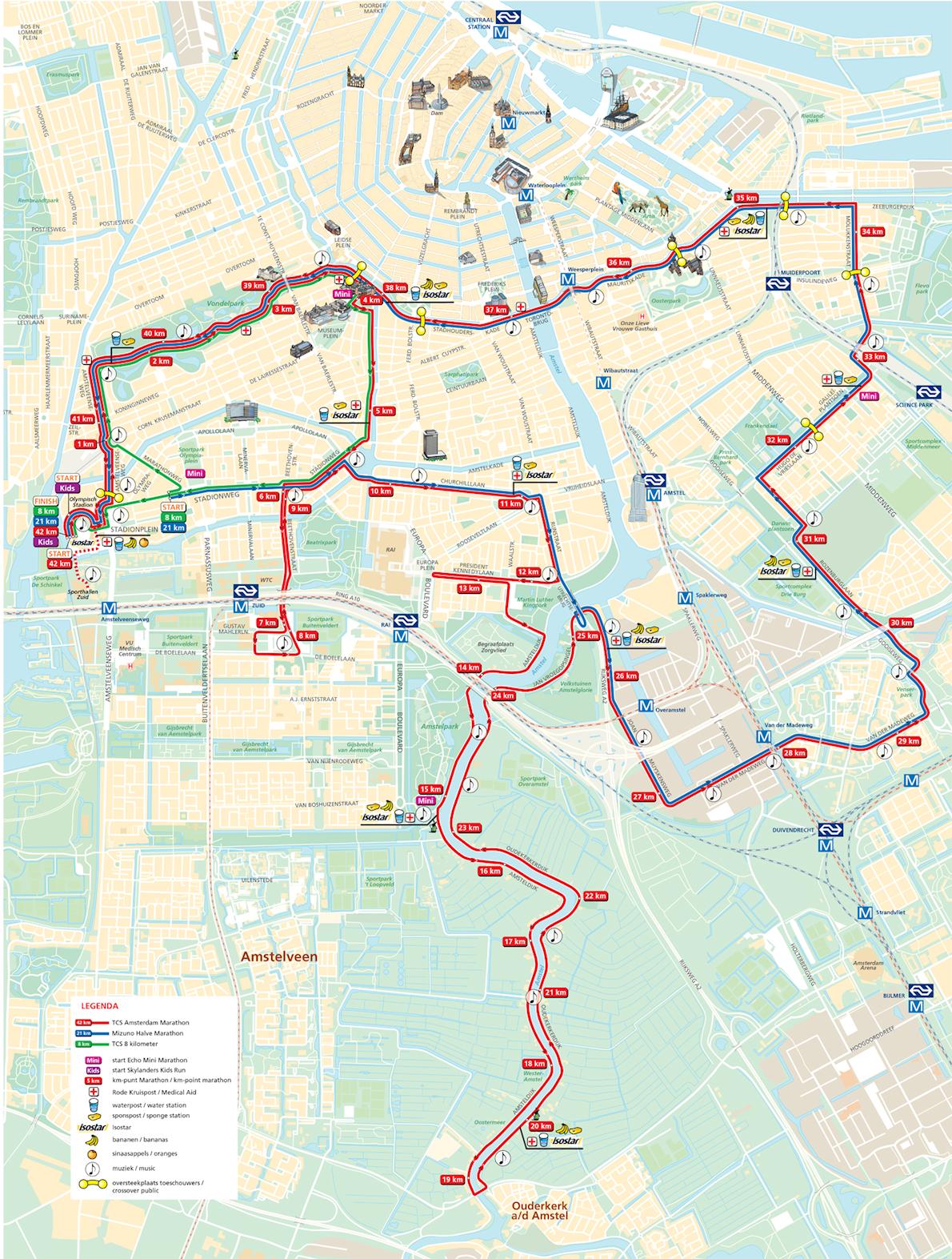TCS Amsterdam Marathon Mappa del percorso