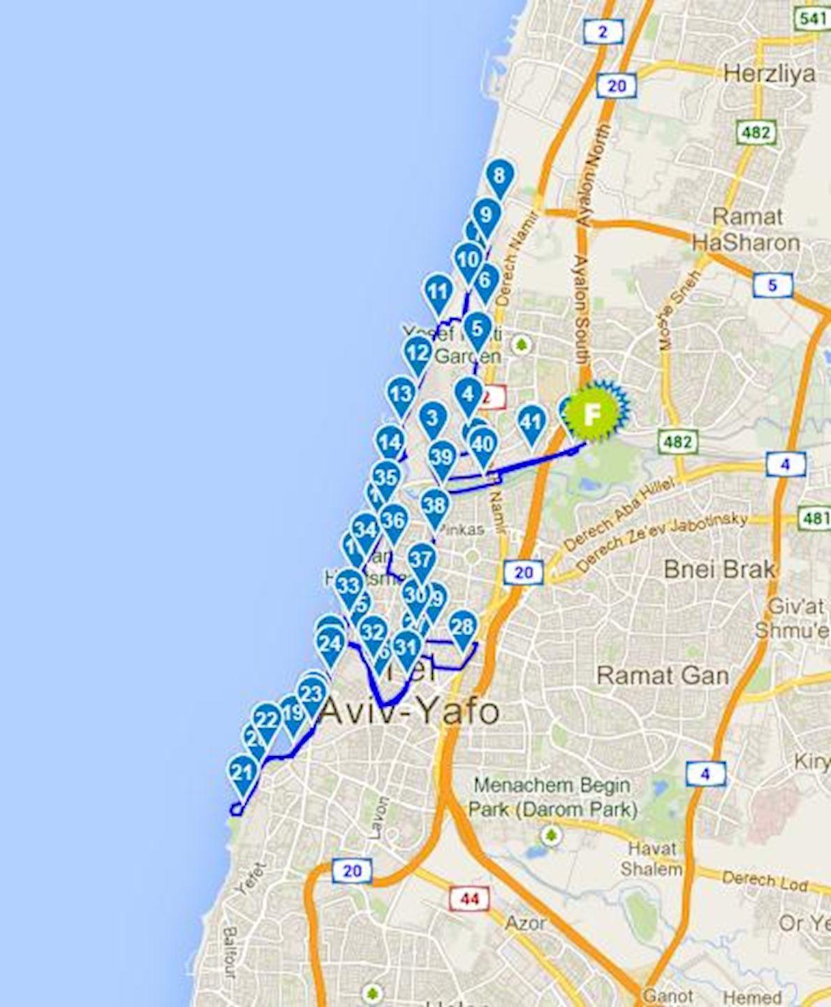 Tel Aviv Samsung Marathon Routenkarte