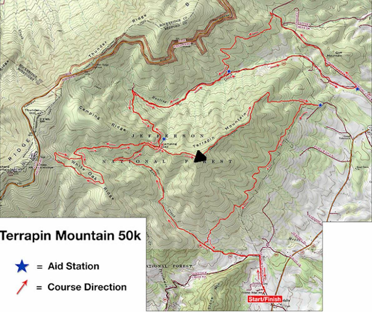 Terrapin Mountain 50K & 1/2 Marathon Route Map