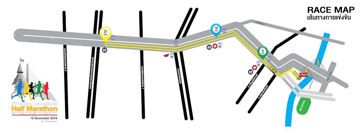 Thailand International Half Marathon Routenkarte