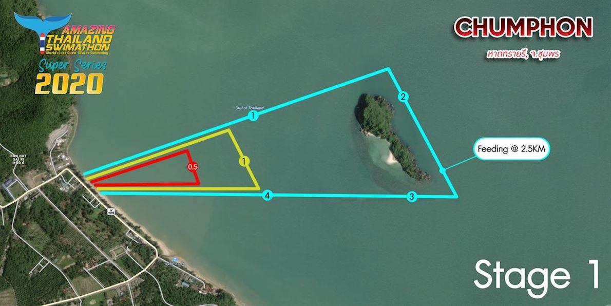 Thailand Swimathon Sairee Beach 路线图