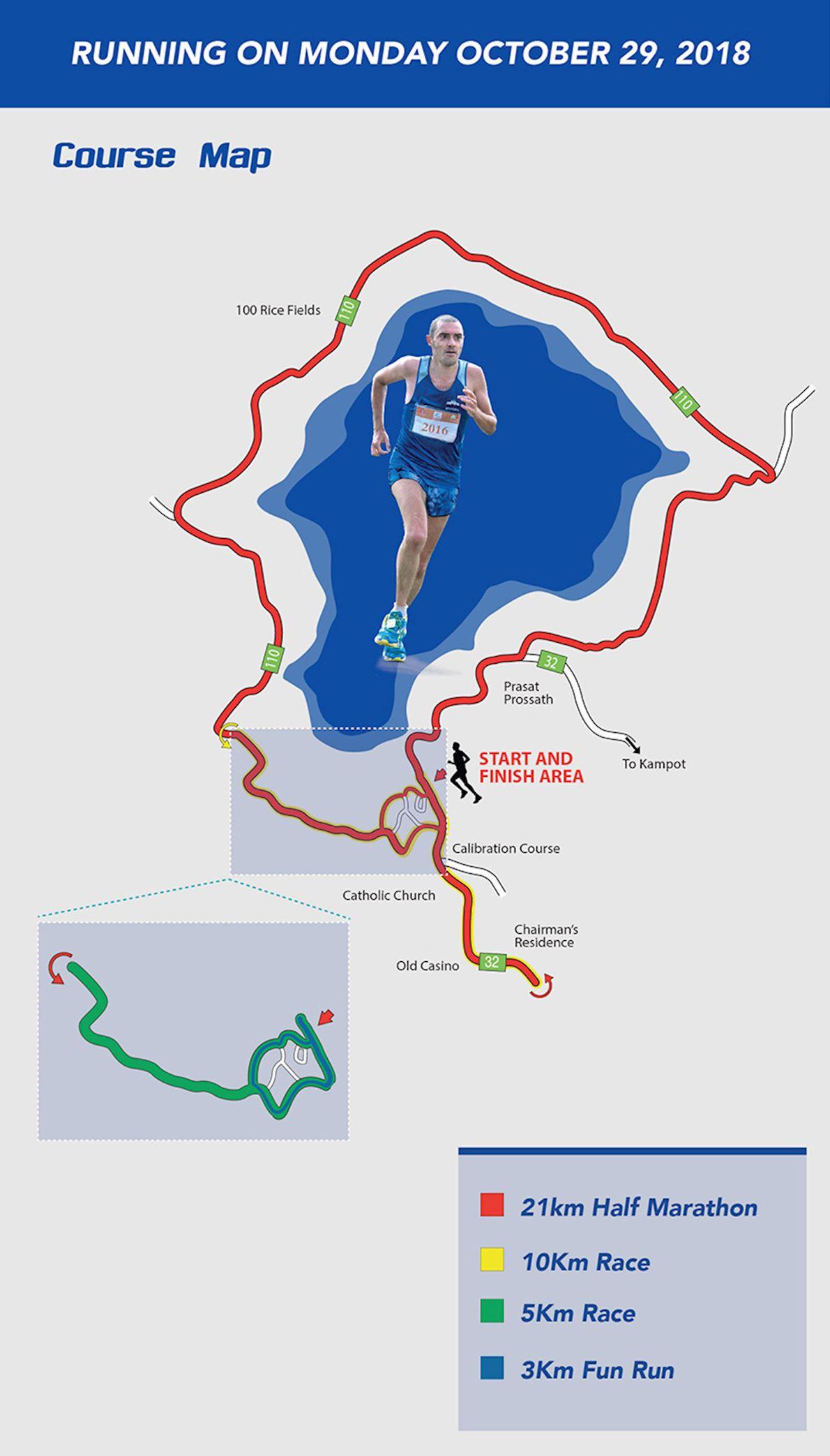 Thansur Bokor International Half Marathon Mappa del percorso
