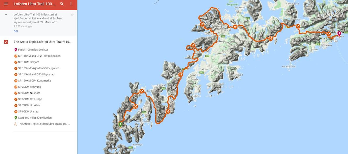 The Arctic Triple / Lofoten Ultra-Trail / Norway MAPA DEL RECORRIDO DE