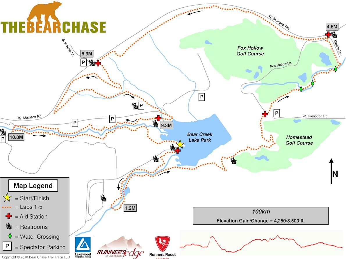 The Bear Chase Trail Race 100K Route Map