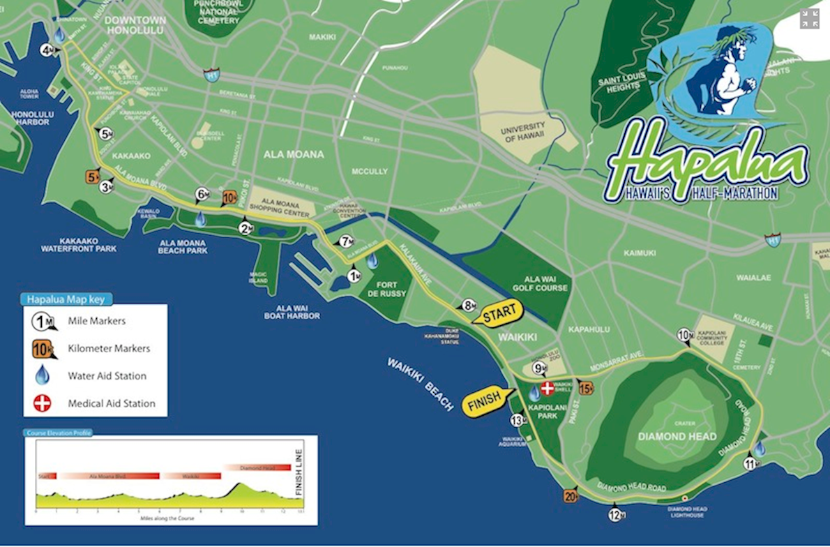 The Hapalua - Hawaii's Half Marathon 路线图