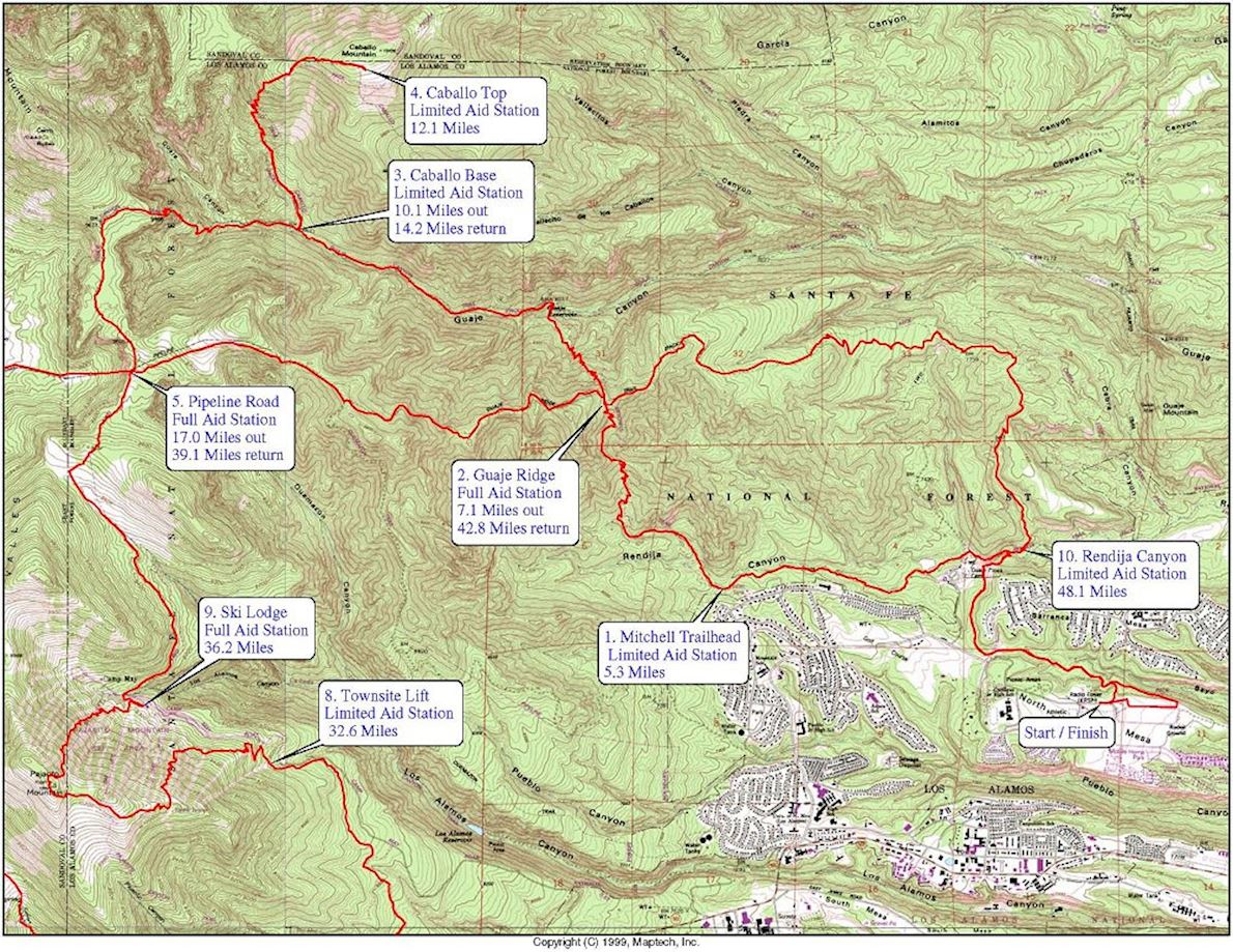 Jemez Mountain Trail Runs MAPA DEL RECORRIDO DE