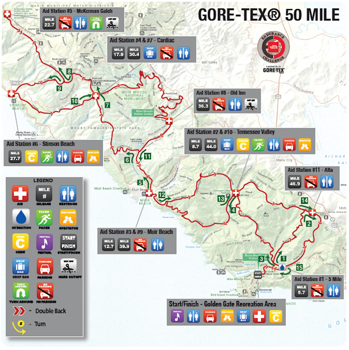 The North Face Endurance Challenge (California) Routenkarte