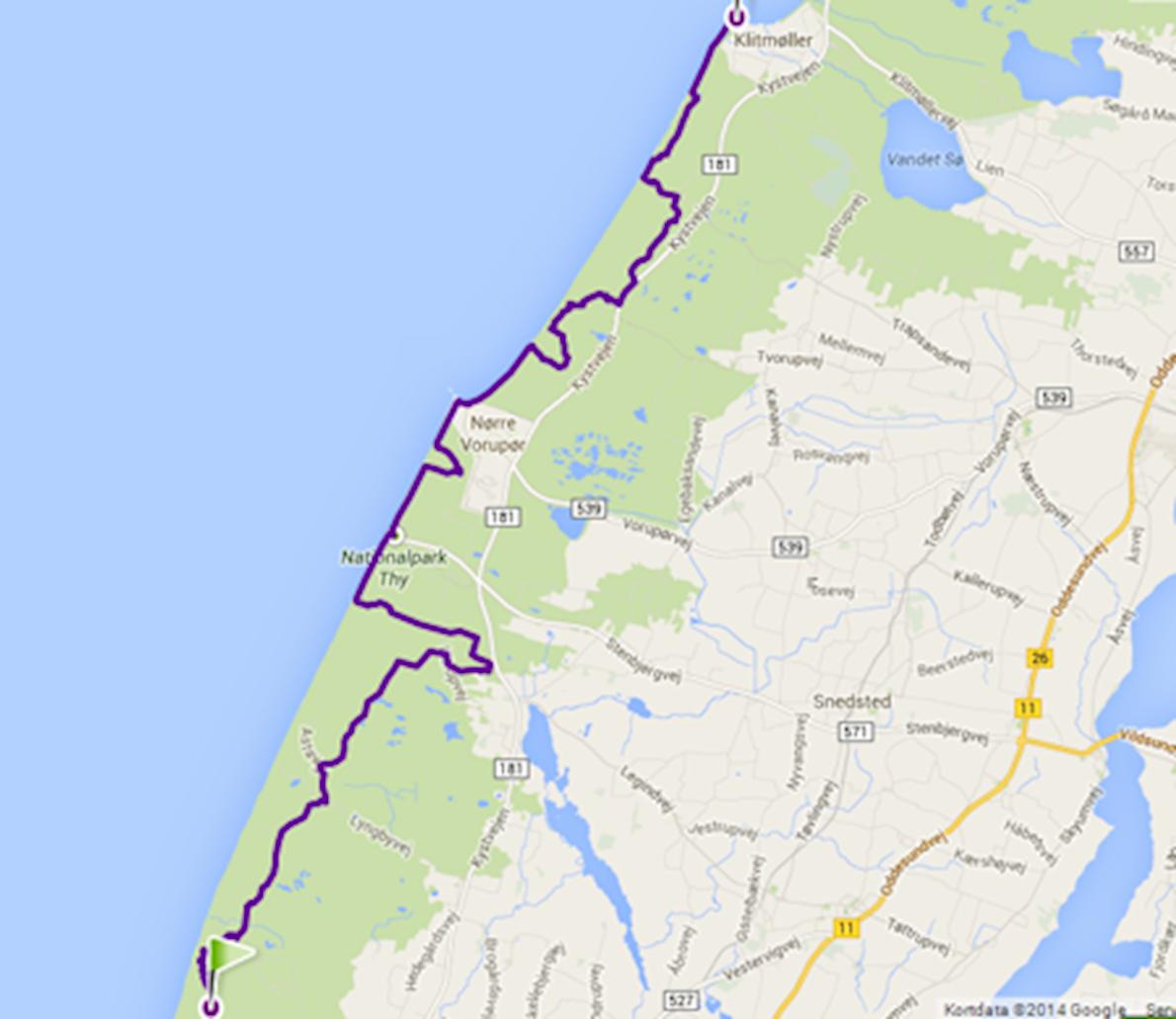 Thy Trail Marathon Mappa del percorso