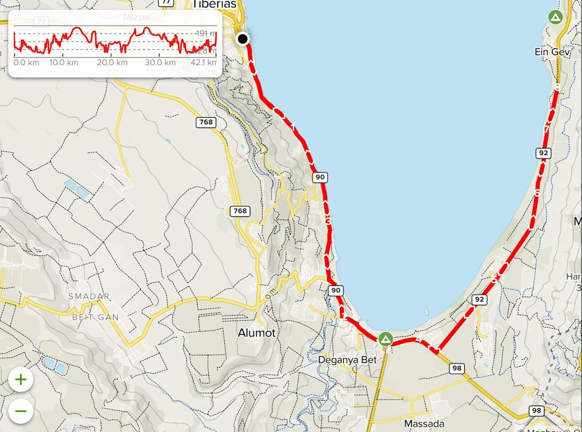 Sea of Galilee Tiberias Marathon 路线图