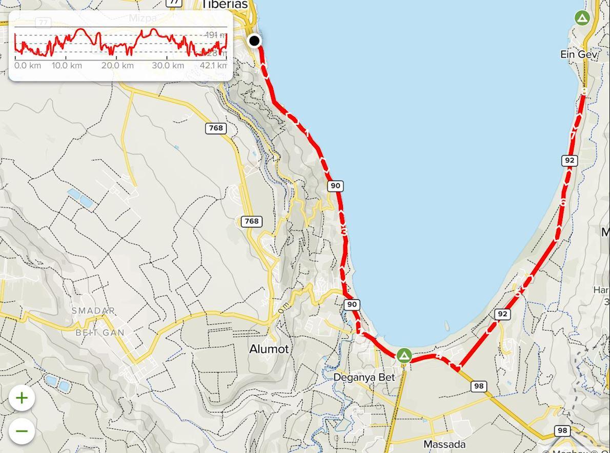 Sea of Galilee Tiberias Marathon Mappa del percorso