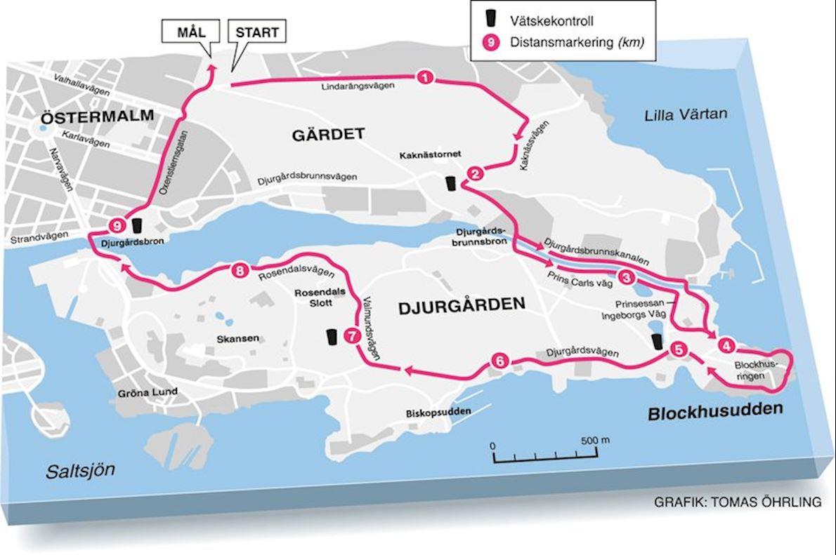 Tjejmilen Mappa del percorso