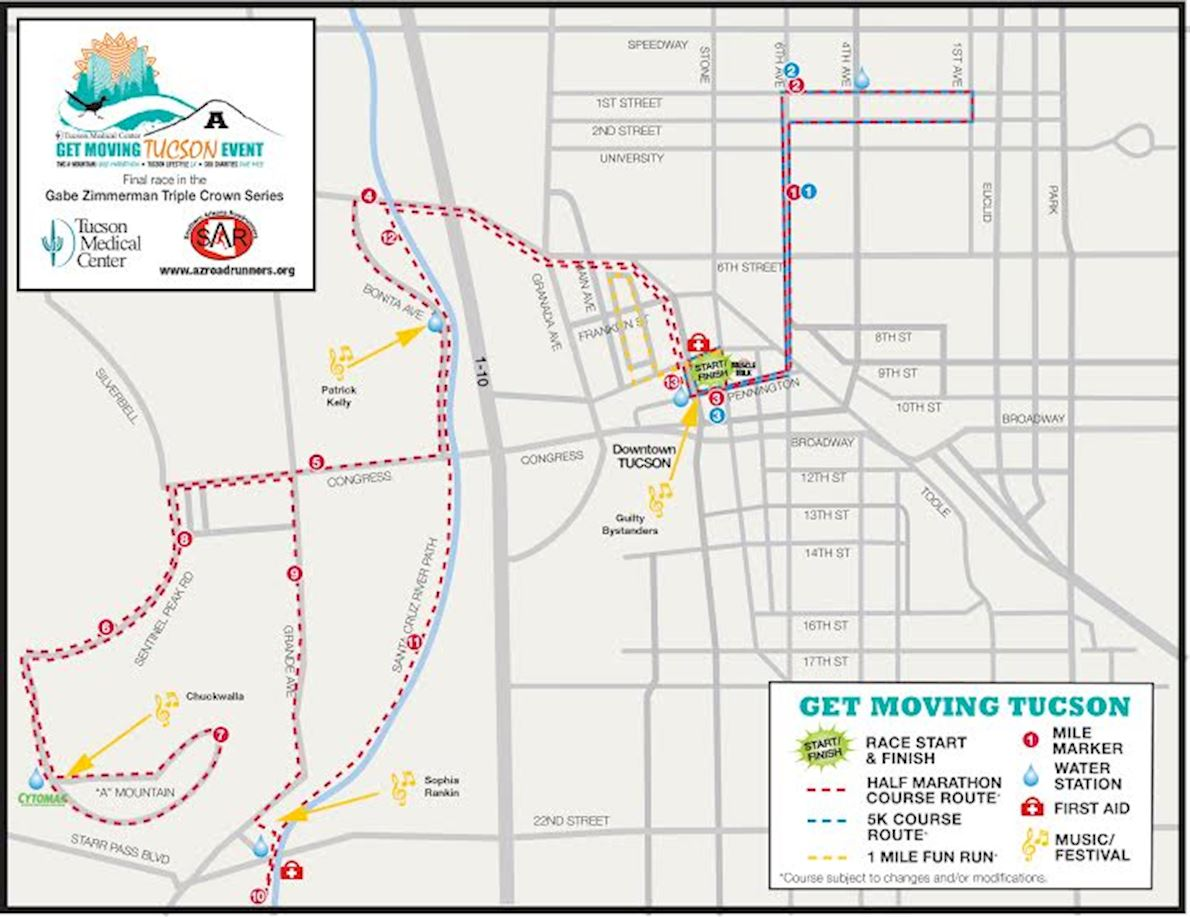 TMC Get Moving Tucson Half Marathon Mappa del percorso