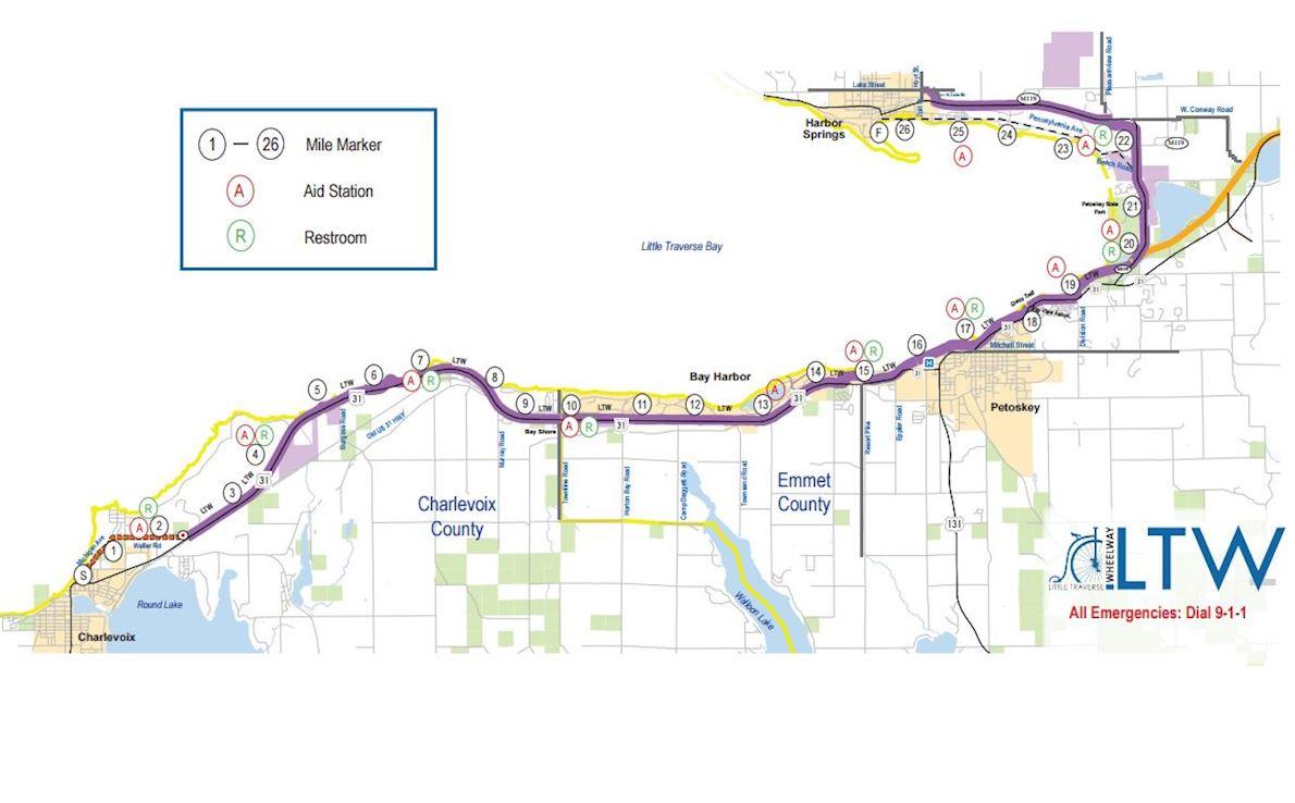 Stafford's Top of Michigan Marathon MAPA DEL RECORRIDO DE