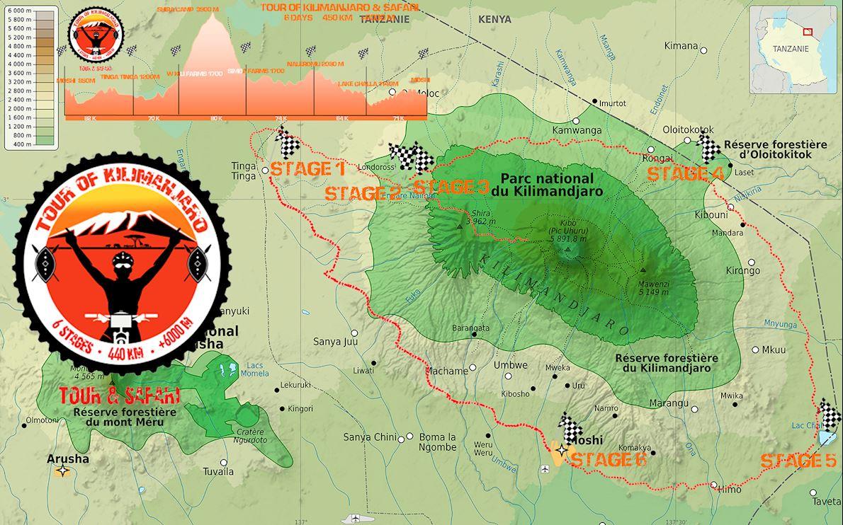 Tour of Kilimanjaro mtb Route Map