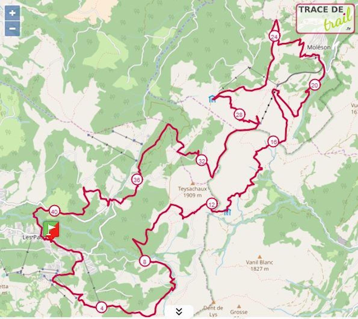 Trail des Paccots Route Map