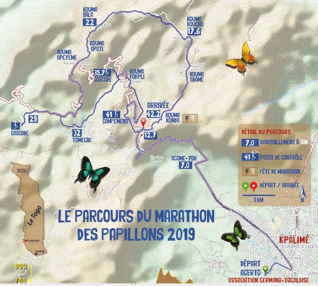 Trail-Marathon des Papillons, Kpalimé, Togo Route Map