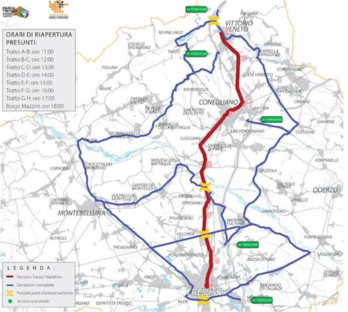 Treviso Marathon Mappa del percorso