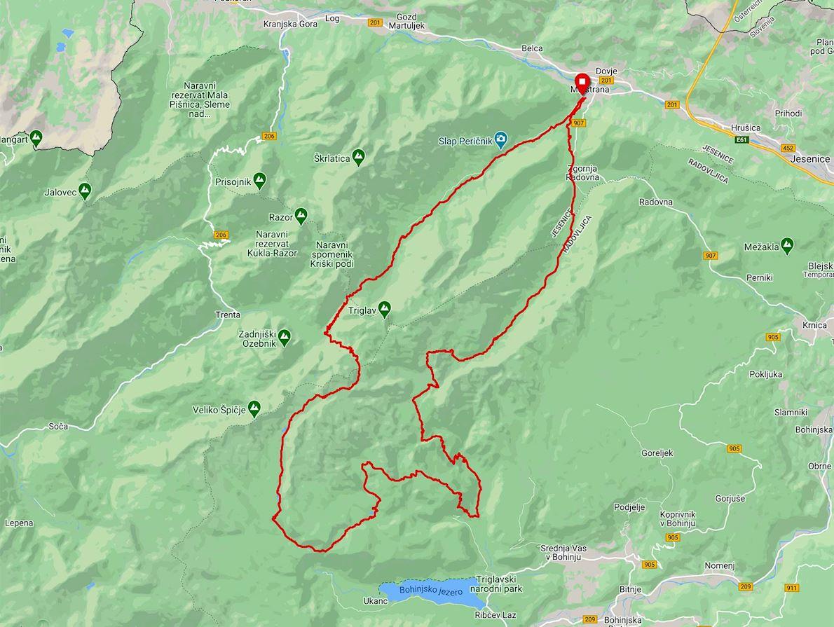 Triglav Trail Race Mappa del percorso