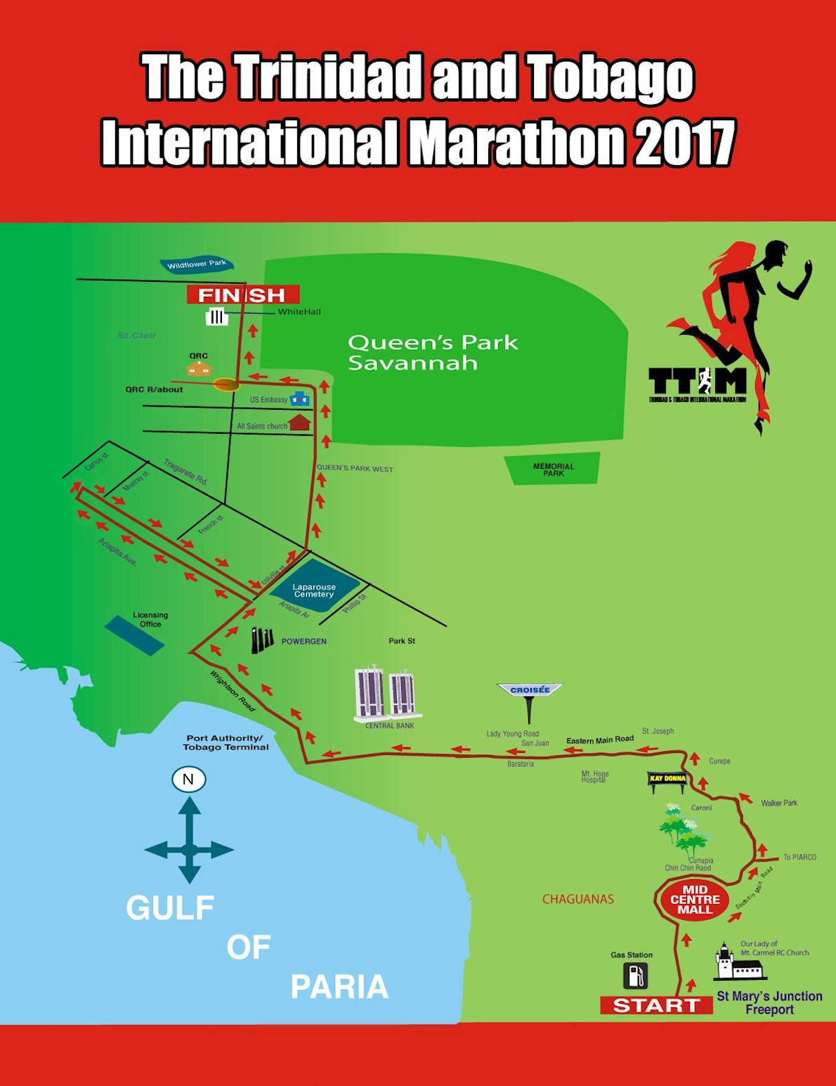 Trinidad and Tobago Marathon Routenkarte