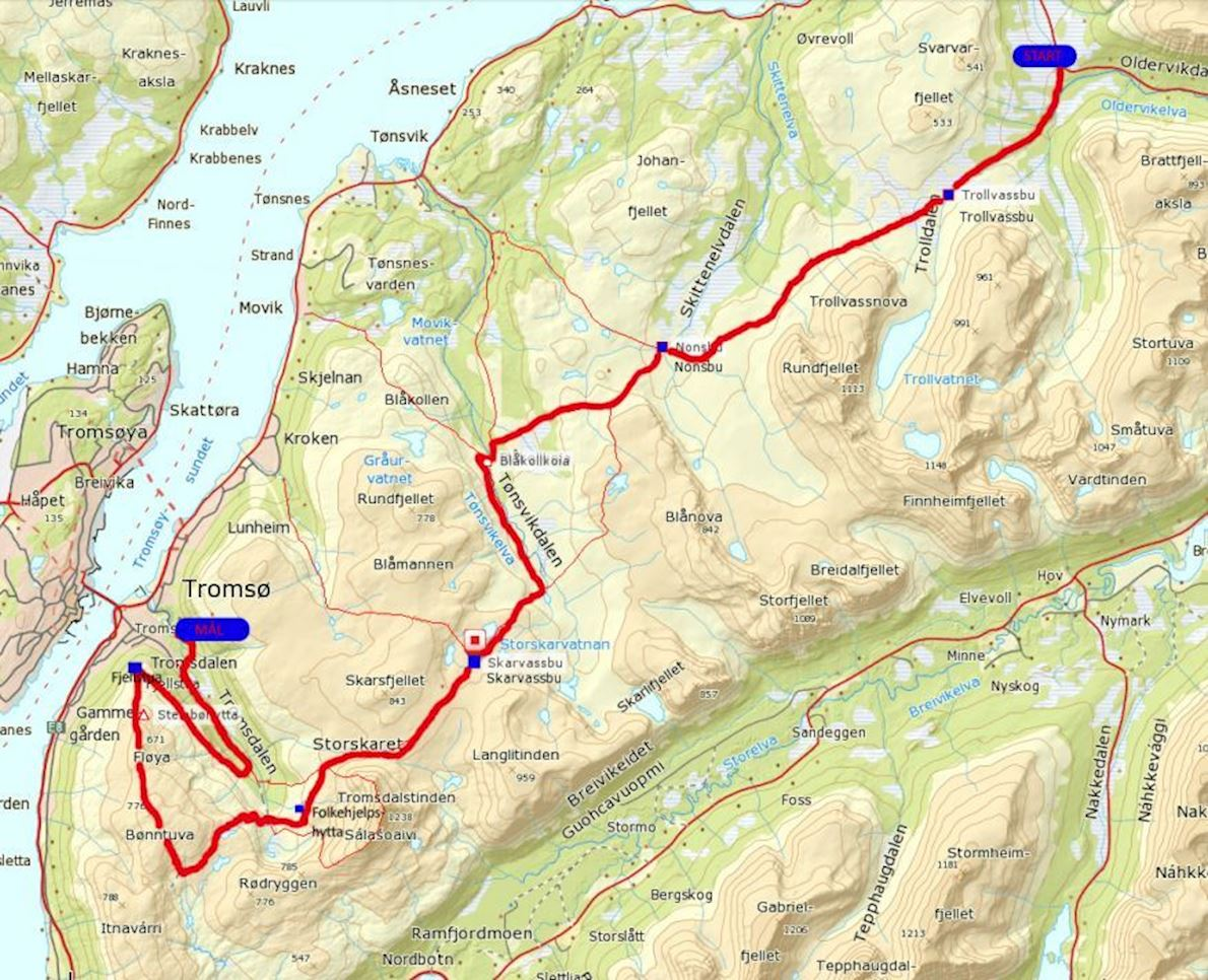 Tromsø Mountain Challenge Route Map