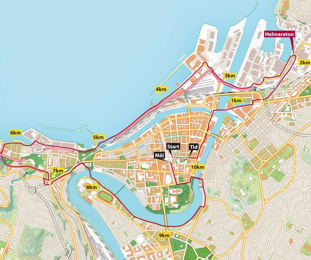 Trondheim Marathon MAPA DEL RECORRIDO DE