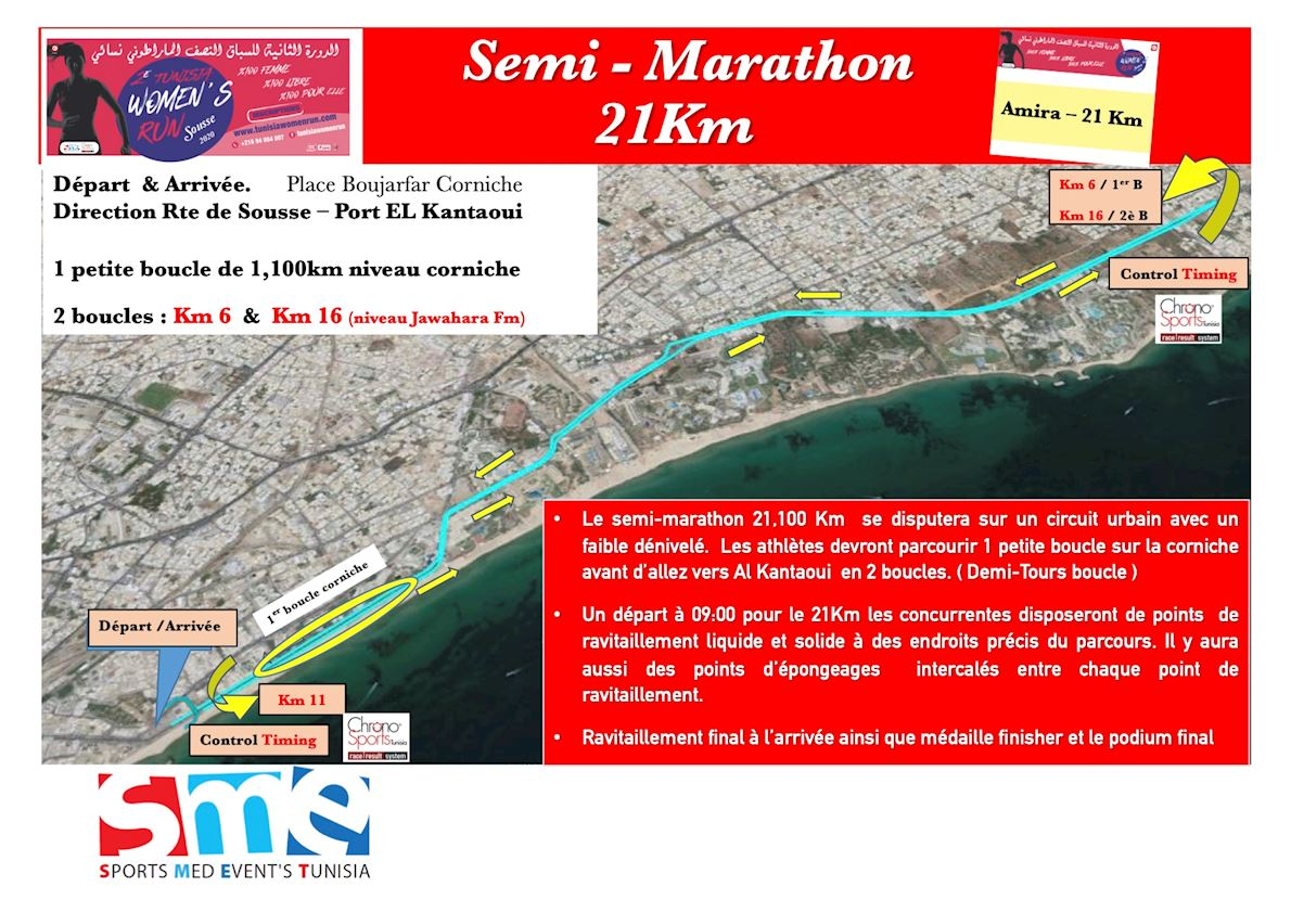 Tunisia Women Run             Semi-Marathon ITINERAIRE