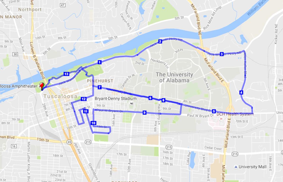 Tuscaloosa Tourism & Sport Half Marathon Route Map
