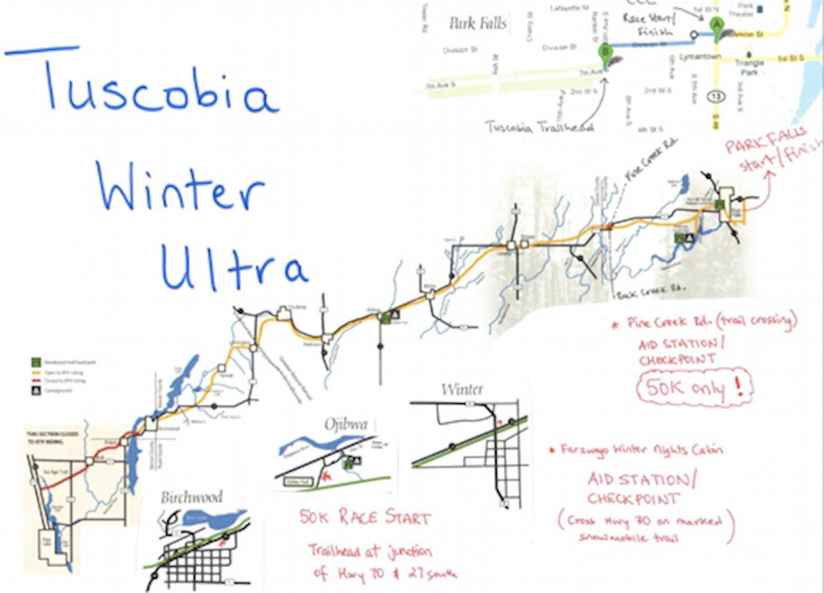 Tuscobia Winter Ultramarathon 路线图
