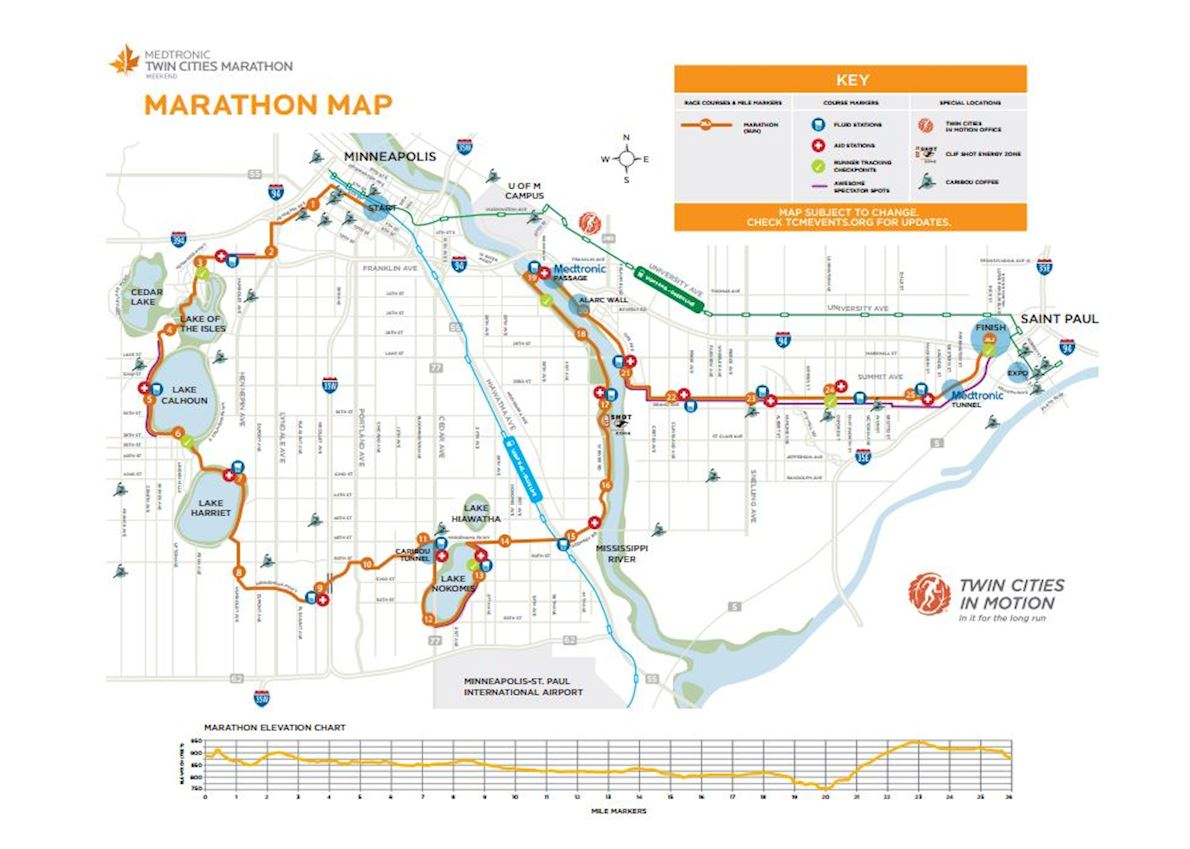 Twin Cities Marathon Route Map