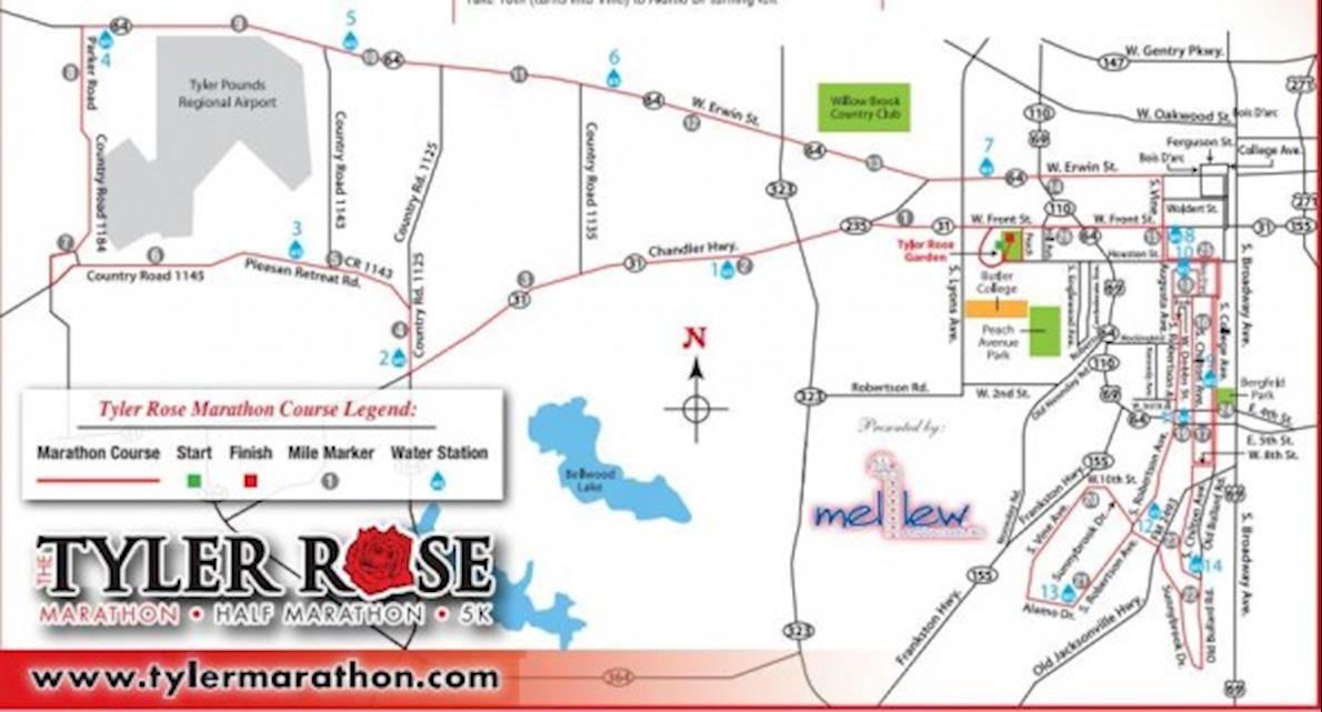 Tyler Rose Marathon Route Map