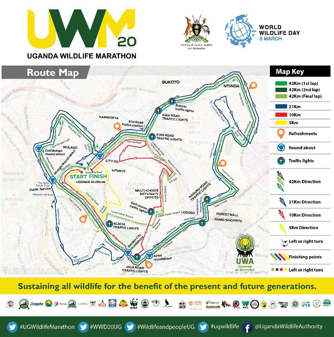 Uganda Wildlife Marathon Route Map